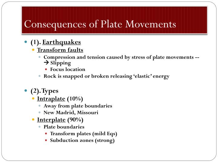 Consequences of Plate Movements