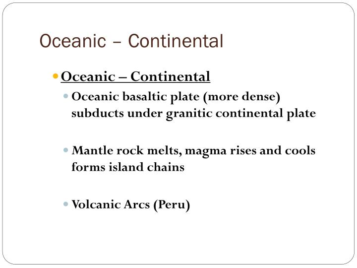 Oceanic – Continental