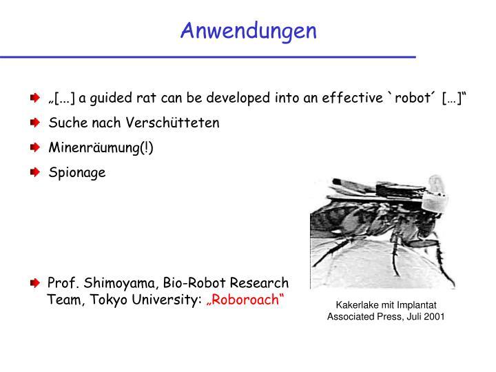 Prof. Shimoyama, Bio-Robot Research