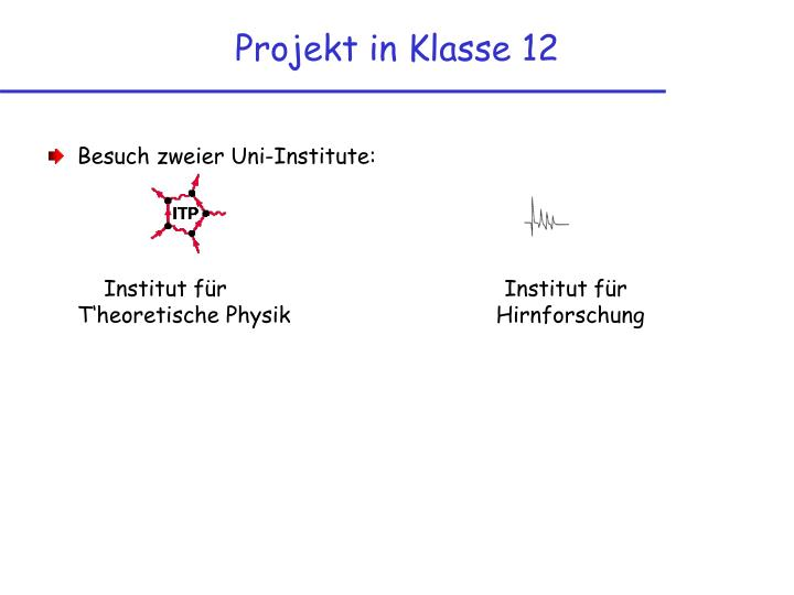 Projekt in Klasse 12