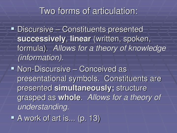 Two forms of articulation: