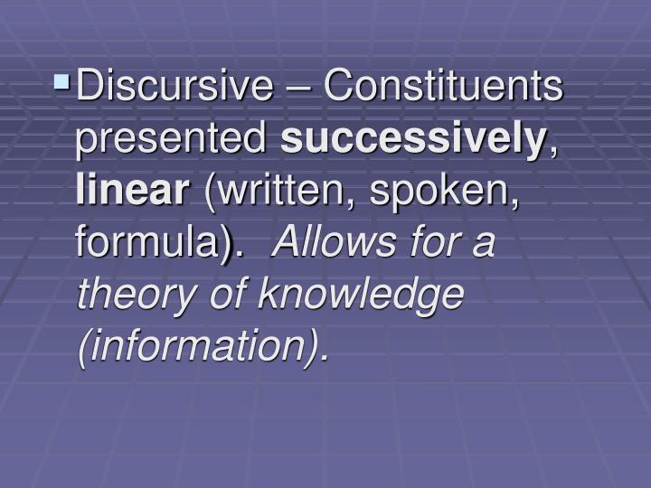 Discursive – Constituents presented