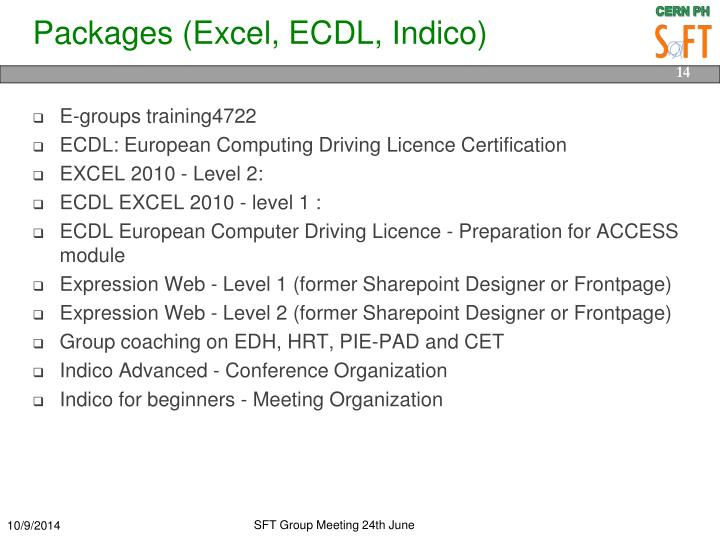 Packages (Excel, ECDL,