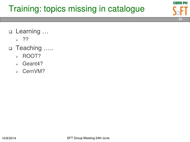 Training: topics missing in catalogue