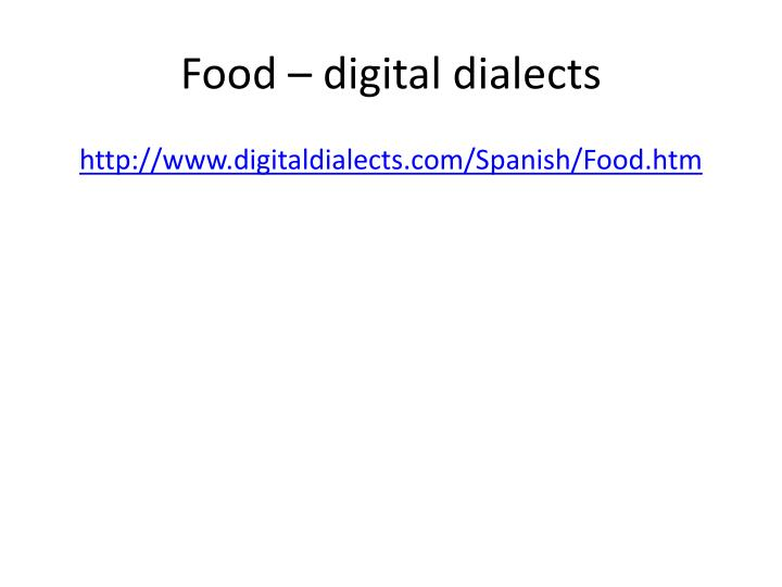 Food – digital dialects