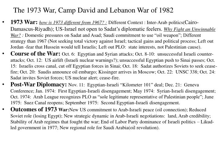The 1973 War, Camp David and Lebanon War of 1982