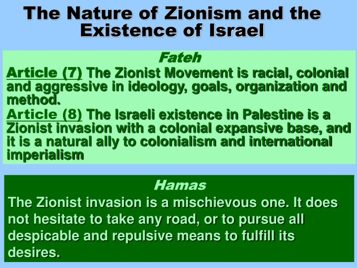 The Nature of Zionism and the Existence of Israel