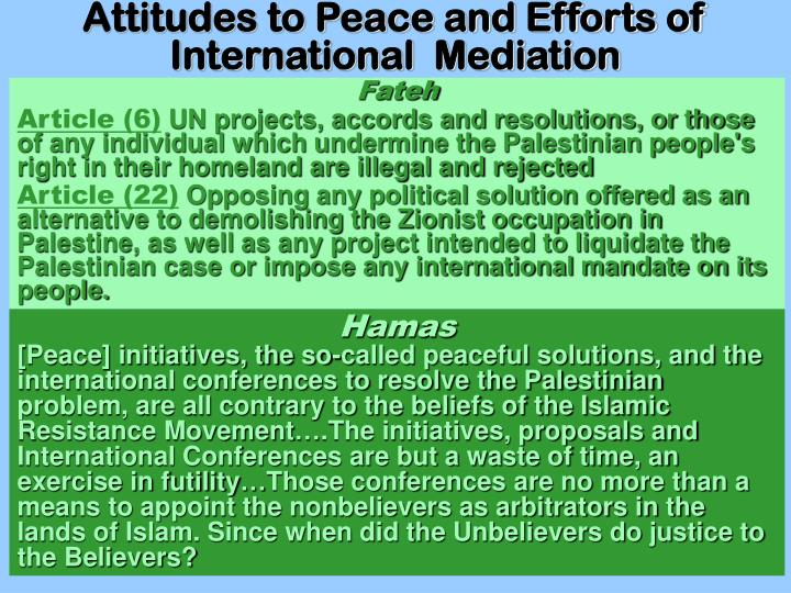 Attitudes to Peace and Efforts of International  Mediation