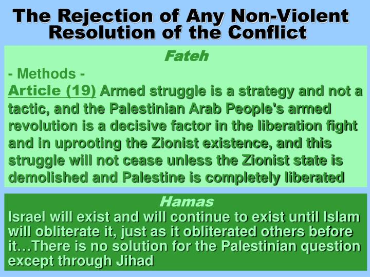 The Rejection of Any Non-Violent Resolution of the Conflict