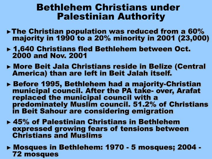Bethlehem Christians under Palestinian Authority