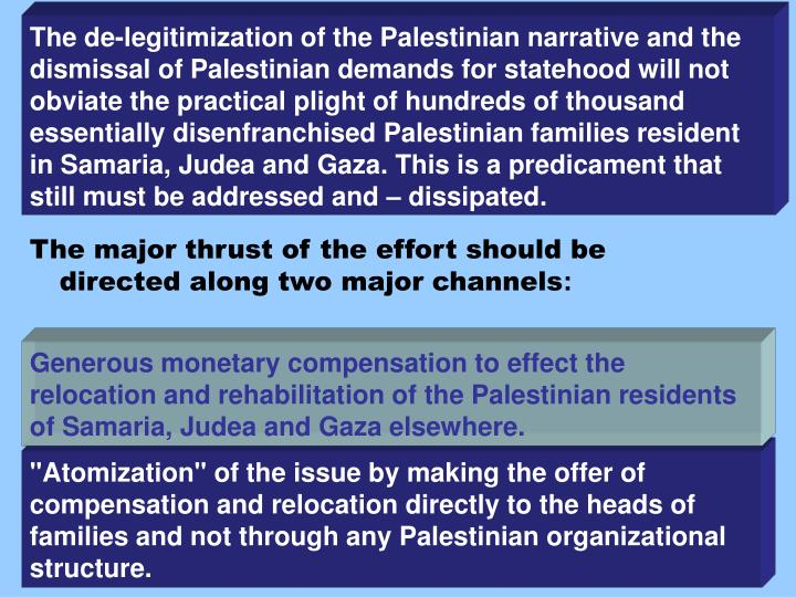 The de-legitimization of the Palestinian narrative and the dismissal of Palestinian demands for statehood will not obviate the practical plight of hundreds of thousand essentially disenfranchised Palestinian families resident in Samaria, Judea and