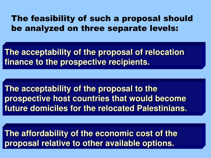 The feasibility of such a proposal should be analyzed on three separate levels: