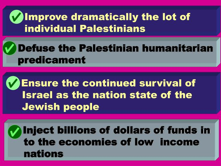 Improve dramatically the lot of individual Palestinians