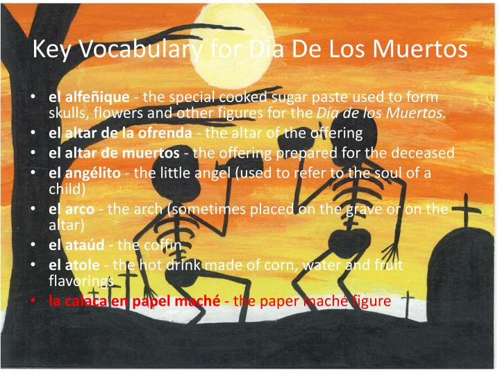 Key vocabulary for dia de los muertos