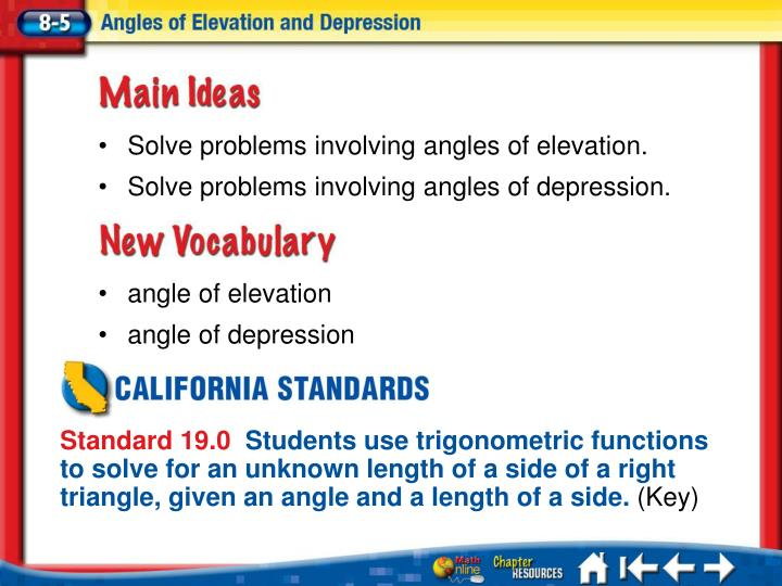 Solve problems involving angles of elevation.