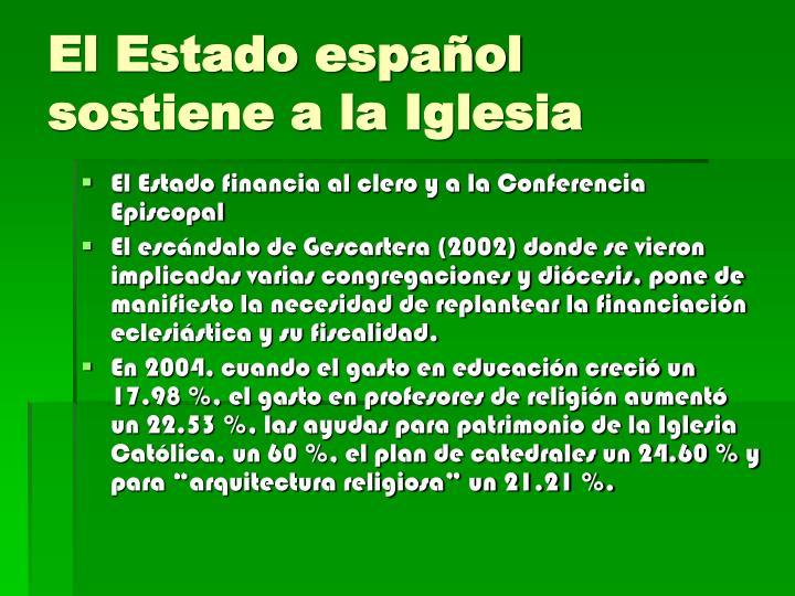 El Estado español sostiene a la Iglesia