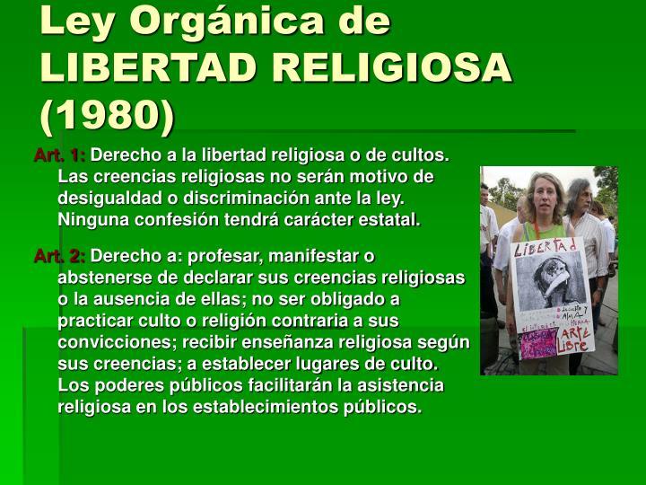 Ley Orgánica de LIBERTAD RELIGIOSA (1980)