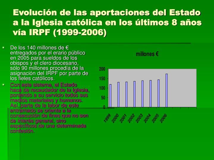De los 140 millones de € entregados por el erario público en 2005 para sueldos de los obispos y el clero diocesano, sólo 90 millones procedía de la asignación del IRPF por parte de los fieles católicos.