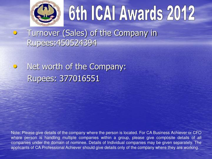 Turnover (Sales) of the Company in Rupees:450524394