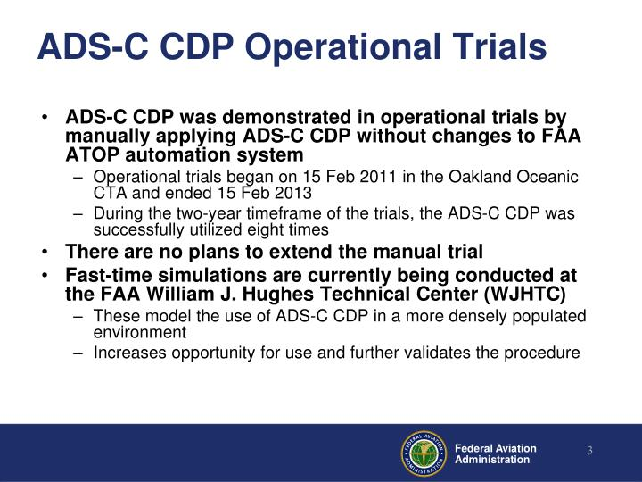 Ads c cdp operational trials