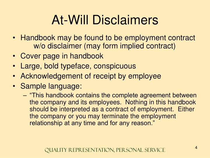 At-Will Disclaimers