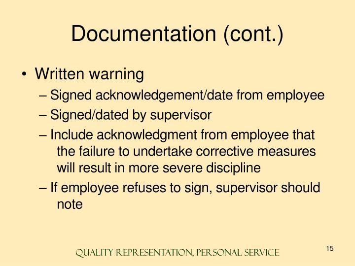 Documentation (cont.)