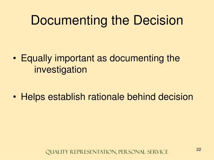 Documenting the Decision
