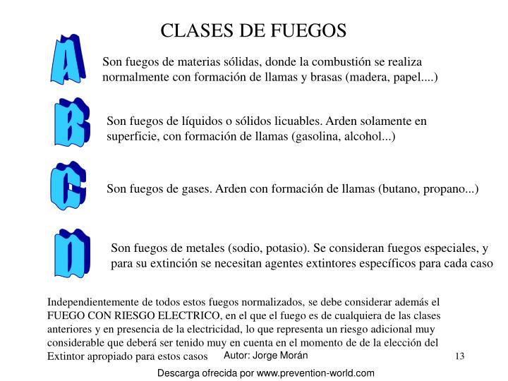 CLASES DE FUEGOS