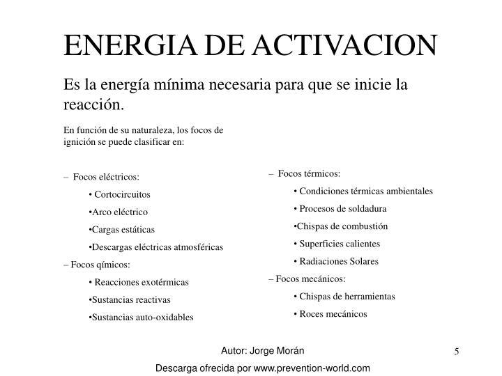 ENERGIA DE ACTIVACION