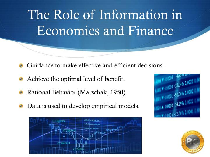 The role of information in economics and finance