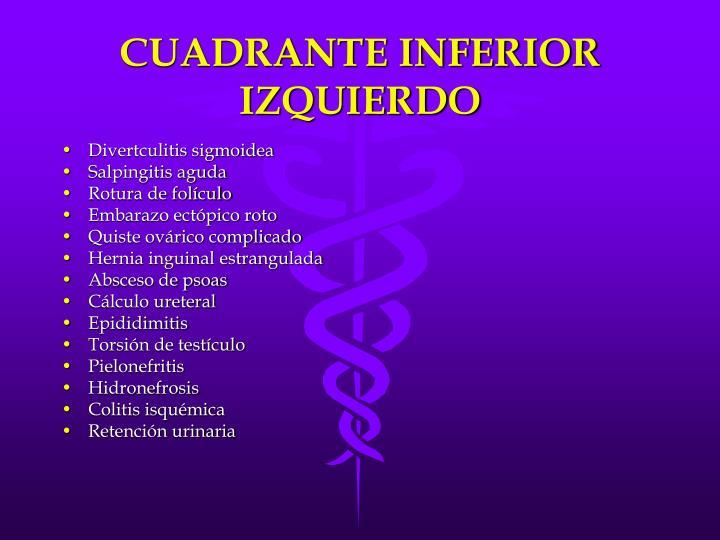 CUADRANTE INFERIOR IZQUIERDO