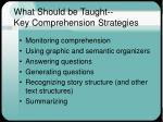 what should be taught key comprehension strategies