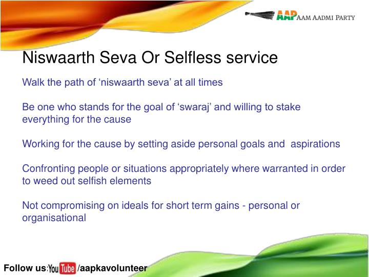 Niswaarth Seva Or Selfless service