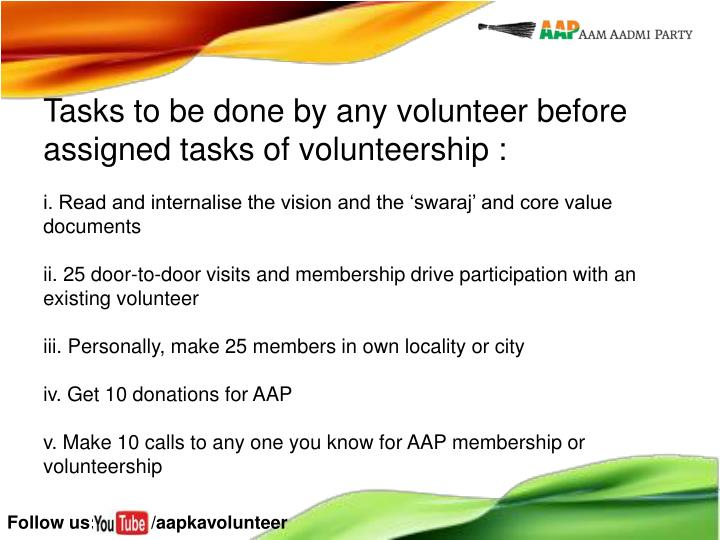 Tasks to be done by any volunteer before assigned tasks of volunteership :
