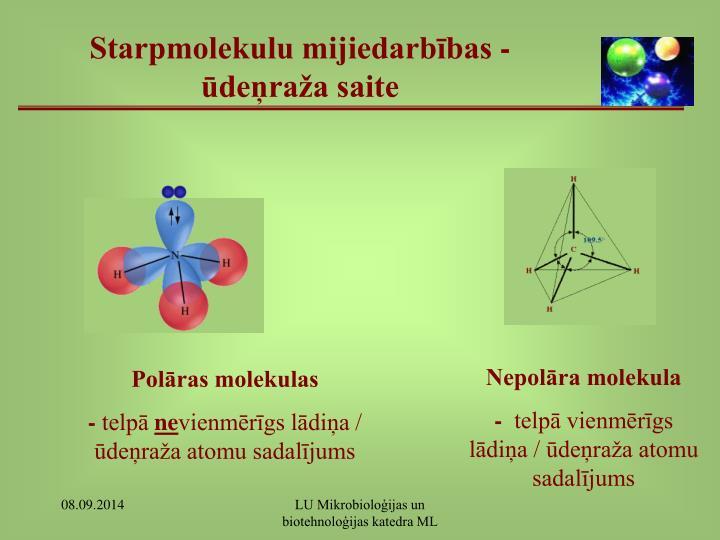 Starpmolekulu mijiedarbības - ūdeņraža saite