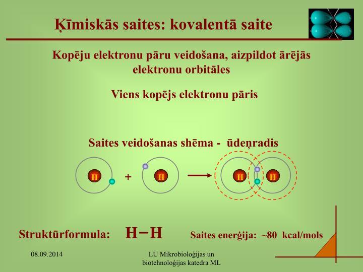 Saites veidošanas shēma -  ūdeņradis