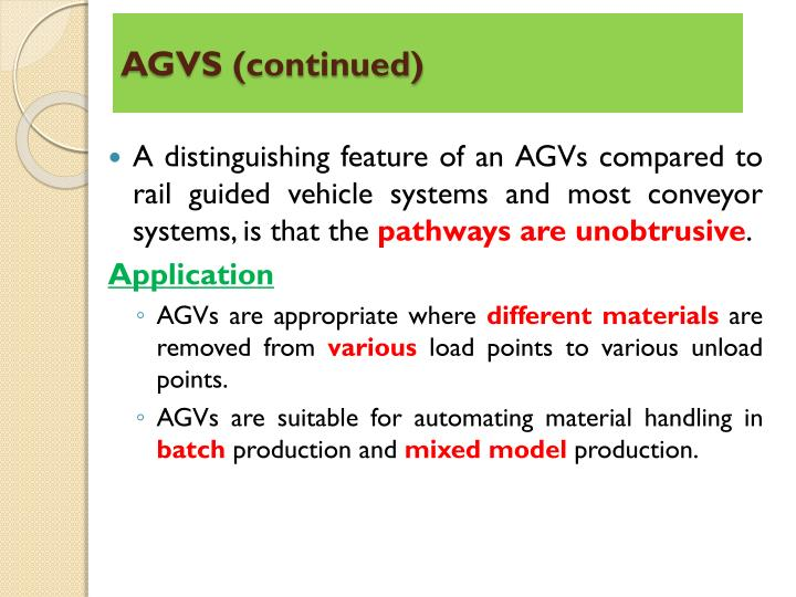 AGVS (continued)