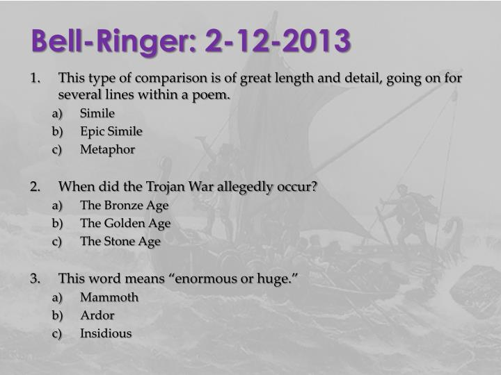 Bell-Ringer: 2-12-2013