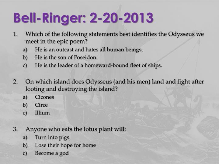 Bell-Ringer: 2-20-2013