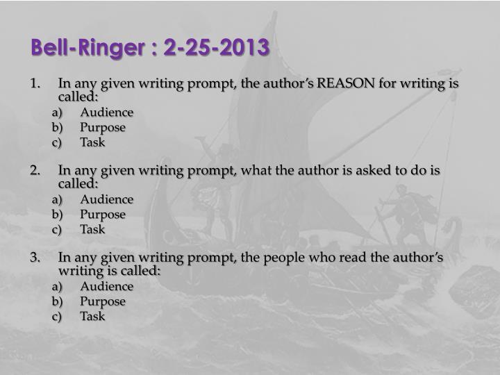 Bell-Ringer : 2-25-2013