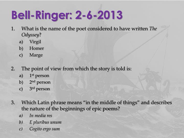 Bell-Ringer: 2-6-2013