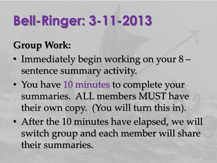 Bell-Ringer: 3-11-2013