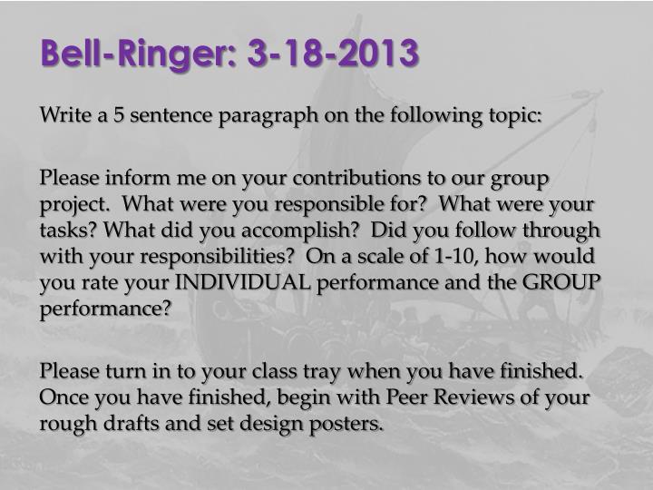 Bell-Ringer: 3-18-2013