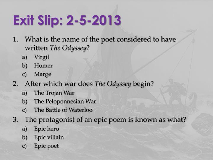 Exit Slip: 2-5-2013