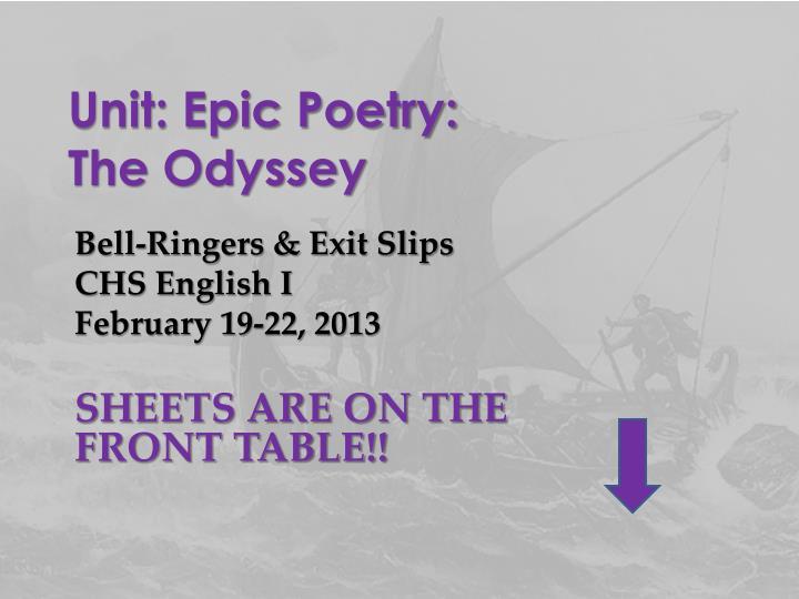 Unit: Epic Poetry: