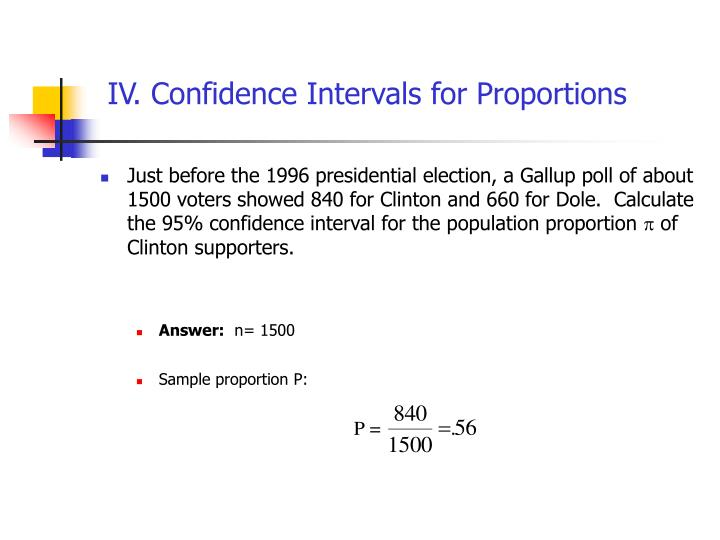 IV. Confidence Intervals for Proportions