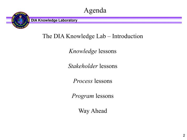 The DIA Knowledge Lab – Introduction