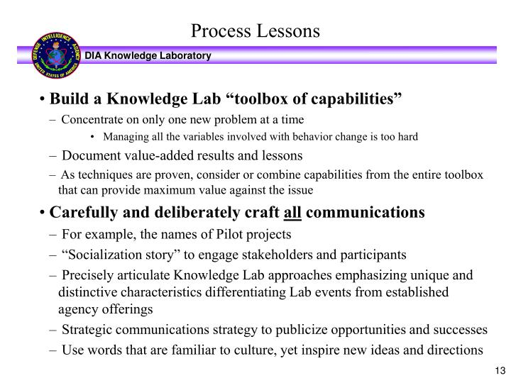 "Build a Knowledge Lab ""toolbox of capabilities"""