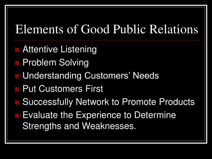 Elements of Good Public Relations
