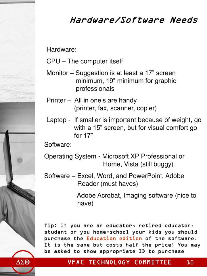 Hardware/Software Needs